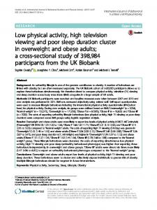 Low physical activity, high television viewing and poor sleep duration ...