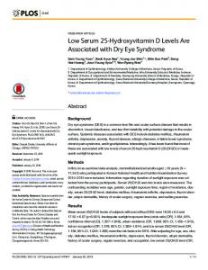 Low Serum 25-Hydroxyvitamin D Levels Are Associated with ... - Plos