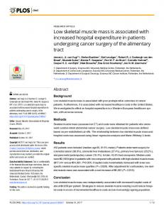 Low skeletal muscle mass is associated with increased ... - PLOS