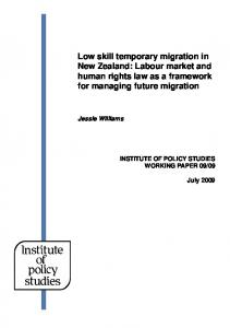 Low skill temporary migration in New Zealand: Labour market and ...