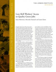 Low-Skill Workers' Access to Quality Green Jobs - Eric