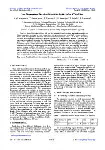 Low Temperature Electrical Resistivity Studies in Lead Thin Films A.W. ...