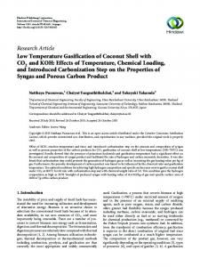 Low Temperature Gasification of Coconut Shell with CO2 and KOH ...