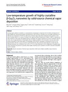 Low-temperature growth of highly crystalline ... - Semantic Scholar
