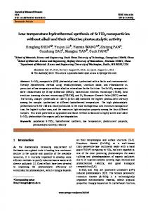 Low temperature hydrothermal synthesis of SrTiO3 nanoparticles ...