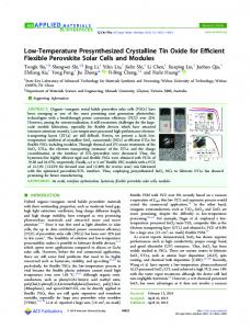 Low-Temperature Presynthesized Crystalline Tin ... - ACS Publications