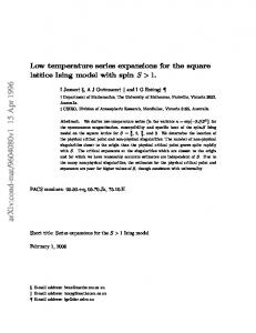 Low temperature series expansions for the square lattice Ising model ...