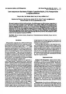 Low-temperature Synthesis of Highly Crystalline ...