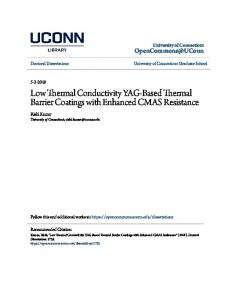 Low Thermal Conductivity YAG-Based Thermal Barrier Coatings with ...