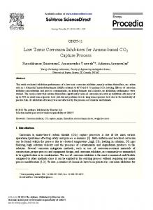 Low Toxic Corrosion Inhibitors for Amine-based CO2 Capture Process