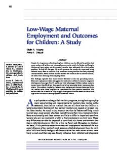 Low-Wage Maternal Employment and Outcomes
