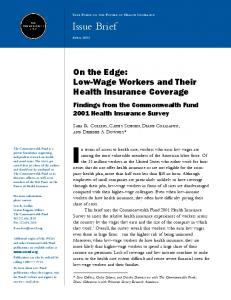 Low-Wage Workers and their Health Insurance Coverage