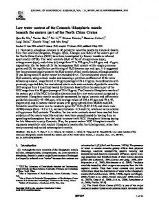 Low water content of the Cenozoic lithospheric ... - Wiley Online Library