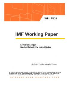 Lower for Longer: Neutral Rates in the United States - IMF
