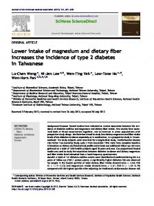Lower intake of magnesium and dietary fiber increases the ... - Core