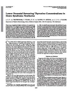 Lower Neonatal Screening Thyroxine Concentrations in Down ...