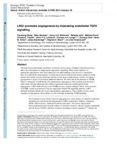 LRG1 promotes angiogenesis by modulating ... - BioMedSearch