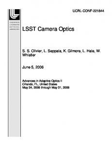 LSST Camera Optics - Site Index Page - Lawrence Livermore National ...