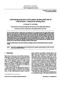 Lubricating properties of oil-in-water emulsion with low oil ...