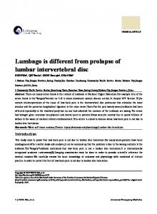 Lumbago is different from prolapse of lumbar intervertebral disc