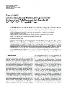 Luminescence, Energy Transfer, and Upconversion Mechanisms of ...