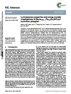 Luminescence properties and energy transfer