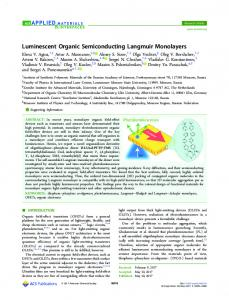 Luminescent Organic Semiconducting Langmuir ... - ACS Publications