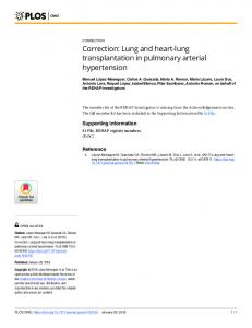 Lung and heart-lung transplantation in pulmonary arterial ... - PLOS