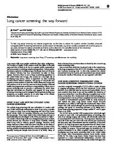 Lung cancer screening: the way forward - Nature