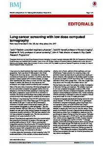 Lung cancer screening with low dose computed tomography - The BMJ
