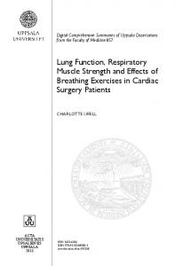 Lung Function, Respiratory Muscle Strength and Effects of Breathing ...