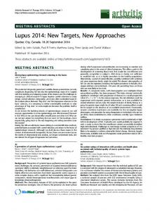 Lupus 2014: New Targets, New Approaches - Springer Link