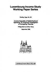 Luxembourg Income Study Working Paper Series