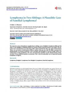 Lymphoma in Two Siblings - Scientific Research Publishing