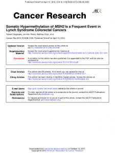Lynch Syndrome Colorectal Cancers Is a Frequent Event in MSH2 ...