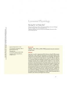 Lysosomal Physiology - Semantic Scholar