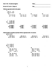 MAC 1140 - Precalculus/Algebra Name Review for Test #4 ...