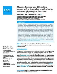 Machine learning can differentiate venom toxins from other ... - PeerJ