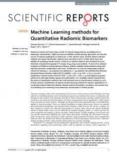 Machine Learning methods for Quantitative Radiomic Biomarkers