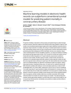 Machine learning models in electronic health records can ... - PLOS