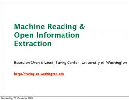 Machine Reading & Open Information Extraction - DFKI