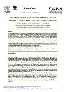 Machining of Tungsten Heavy Alloy under Cryogenic ... - ScienceDirect