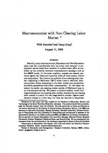 Macroeconomics with Non-Clearing Labor Market - CiteSeerX