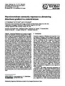 Macroinvertebrate community responses to a dewatering disturbance ...