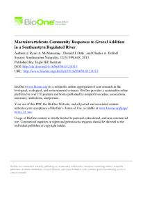 Macroinvertebrate Community Responses to Gravel Addition ... - USDA