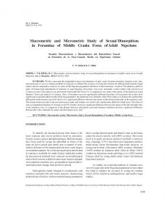 Macrometric and Micrometric Study of Sexual Dimorphism in Foramina ...