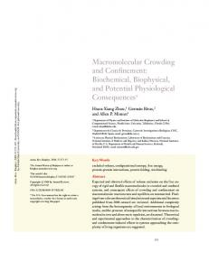 Macromolecular Crowding and Confinement - CiteSeerX