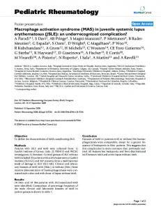 Macrophage activation syndrome (MAS) in juvenile systemic lupus ...