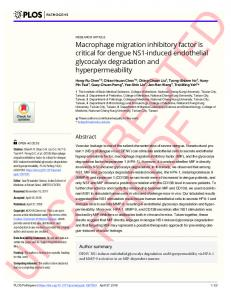 Macrophage migration inhibitory factor is critical for dengue ... - PLOS