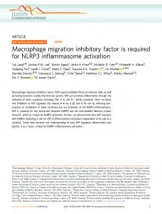 Macrophage migration inhibitory factor is required for NLRP3 ... - Nature